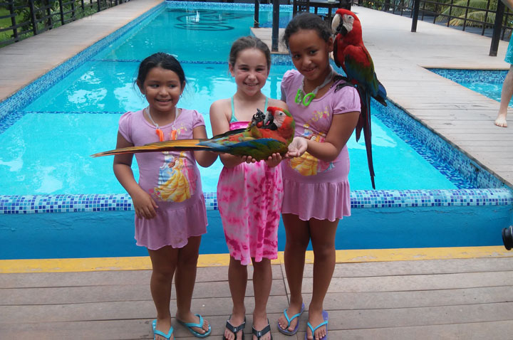 smiling-little-girls-with-parrots